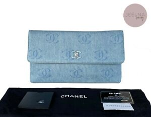CHANEL Vintage Denim Flap Clutch CC Translucent Logo Bag