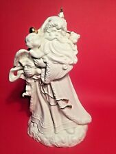 "Gorgeous Porcelain Santa w.Angel Xmas Music Box ""WISH YOU A MERRY CHRISTMAS"""