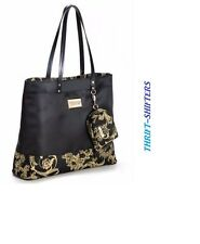 VERSACE PARFUMS LARGE BLACK GOLD TOTE/SHOPPER HOLIDAY BAG & DUST BAG NEW