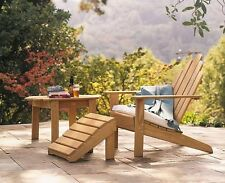 A GRADE TEAK ADIRONDACK CHAIR FOOTREST OTTOMAN SET PATIO GARDEN OUTDOOR INDOOR