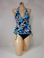 Tankini swim suit Caribbean Joe Floral Blue Size 8