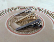 Mens x3 Stainless Steel Skinny Tie Bar Set 4CM Clip Silver Gold Grey Clasp Pin