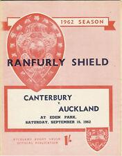 Auckland v Canterbury 15 Sep 1962 Ranfurly Shield, NZ Rugby Programme