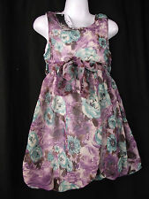 BNWT Girls Sz 5 Bubble Hem Sleeveless Purple & Flowers Fully Lined Party Dress
