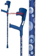 CRUTCHES OCEAN DEEP BLUE ADJUSTABLE  TO 10 POSITIONS CIRCLES OF BLUE HUES DESIGN
