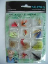 Balzer Sbiro Regenbogenforelle, 12 verschiedene Fliegen Sortiment Haken mit Ösen
