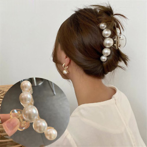 Women Pearl Hair Claws Elegant Hair Clips Pins Large Ponytail Hair Accessories