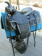 14'' ANTIQUE DIAMOND PARADE WESTERN SADDLE QHB w BRIDLE &  BREAST COLLAR