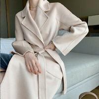 Women's Winter Double-side Cashmere Wool Trench Coat Overcoat Belt
