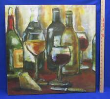Wine Bottle & Glass Canvas Print Oil Painting Passing The Bar by Julie Leland