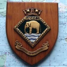 Vintage HMS Ganges Painted Royal Navy Ship Badge Crest Shield Plaque b
