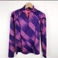 Reebok Womens XS Halfzip Pullover Pink Purple Print Thumbholes Athletic G25