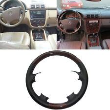 Black Leather Wood Steering Wheel Cover Mercedes 98-05 W163 M Class ML320 ML430