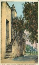 DB Postcard CA G539 The Old Stairway San Gabriel Mission California Pepper Tree