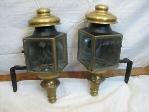 Pr Antique Driving Lantern Lamp Light Model T Buggy Carriage Beveled Glass Brass