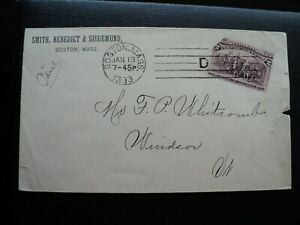 AMERICAN MACHINE CANCEL:  BOSTON, MA., 1893 FIVE BAR  (D).
