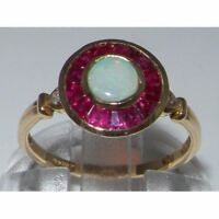 Unusual 9ct Solid Yellow Gold Ladies Natural Opal, Ruby, Diamond Hallmarked Ring