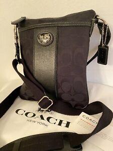 Coach Black Canvas Signature Jacquard Black Leather Stripe Crossbody Bag Purse