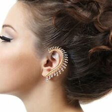 Earrings - Gold Plated -  Cuff - Spiked with clear crystals - LEFT EAR ONLY
