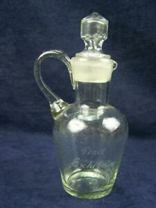 "1920 Peace Exhibition glass oil or vinegar bottle ""A.Gregory"""