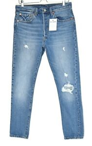 Womens Levis 501 SKINNY High Rise PREMIUM Ripped Blue Jeans Size 12 W30 L28