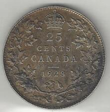 CANADA,  1928,  25 CENTS,  SILVER,  KM#24a,  ALMOST UNCIRCULATED