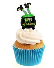 HALLOWEEN Green Witch In Cauldron 12 Edible Stand Up wafer paper cake topper