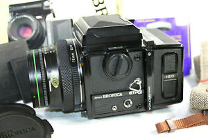 Bronica ETRSi Camera. Zenzanon EII 1:2.8 F=75mm Lens Waist Level Finder 120 Back