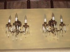 2-3LT BRONZE SCONCES 9HX12W ANTIQUE SCONCES 25 CRYS EA. COLLECTIBLE SCONCES EXC