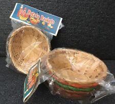 "8 Vtg Potato Baskets Wicker Rattan  5.5""x4x2.25""  Snacks Crafts Organizing  NOS"
