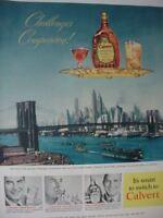 1951 Calvert Whiskey New York Skyline Bridge Challenge Vintage Print Ad 00327