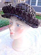 Vintage 1950's Women'S Plastic And Straw Black Goldish Brimmed Hat