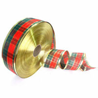 1 Roll Scottish Plaid Christmas Ribbon Wreath Present Gift Wrapping Craft
