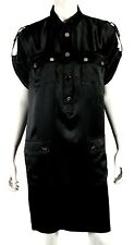 DOLCE & GABBANA Black Silk Satin Short-Sleeve Military Shift Dress 48