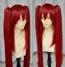 New Popular Fairy Tail Scarlet Red Cosplay Wig + Two Clip on Ponytail