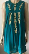 ATMOSPHERE Green & Gold Detail Front Sleeveless Crew Neck Party Dress Size 12