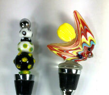 Lot of 2 Art Glass Wine Bottle Stoppers ~ Stainless Steel and Silicone Corker