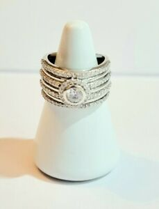 QVC Diamonique - 7g Sterling Silver 925 - Wide Statement Dress Ring - Size O .