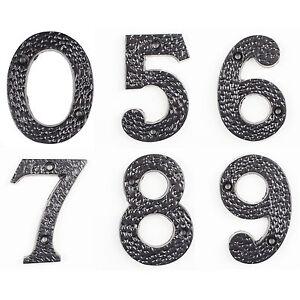 Hausnummer Nummern Hausnummern Zahl Ziffer Zahlen Ziffern Gusseisen Schwarz