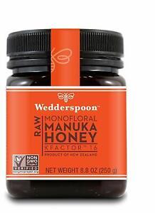 (3) JARS Wedderspoon 100% Raw Monofloral Manuka Honey KFactor 16 250g 8.8 oz