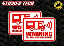 2 x WARNING MOTORHOME GPS ALARM SYSTEM STICKER DECAL SUIT KOMBI WINNEBAGO CAMPER