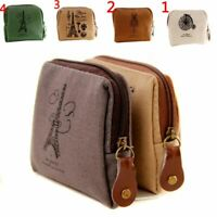 Retro Classic Lienzo Mini Zip Wallet Bolso de la moneda Bolso Pouch Holder