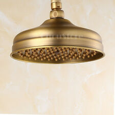 "Traditional Antique Brass 8"" Round Bathroom Rain Shower Head Faucet Replacement"