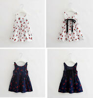 Baby Girl Clothes Newborn Toddler Infant Cherry Dress Summer Outfit 6-36M Skirt