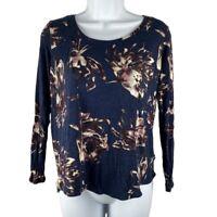 Simply Vera Vera Wang Womens PL Shirt Petite Floral Rayon Long Sleeves Scoop