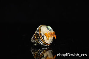 "1.2"" China antique Pure copper Inlaid cat's eye stone Old ring"