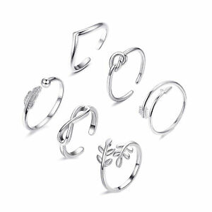6PCs/set Silver/Gold/Rose Fashion Simple Toe Ring Adjustable Foot Beach Jewelry