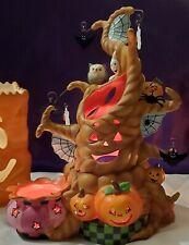 Partylite Halloween Haunted Tree Tealight Candle Holder  Ghost Bat Spider Euc