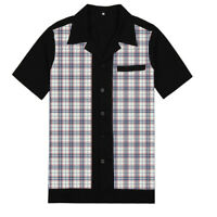 Mens Retro Bowling Plaid Shirt Short Sleeve Cotton Rockabilly Mens Clothes
