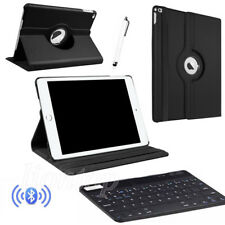 For iPad 2 3 4/Mini/Air/9.7 Bluetooth Keyboard+Rotating Leather Case Cover BlACK